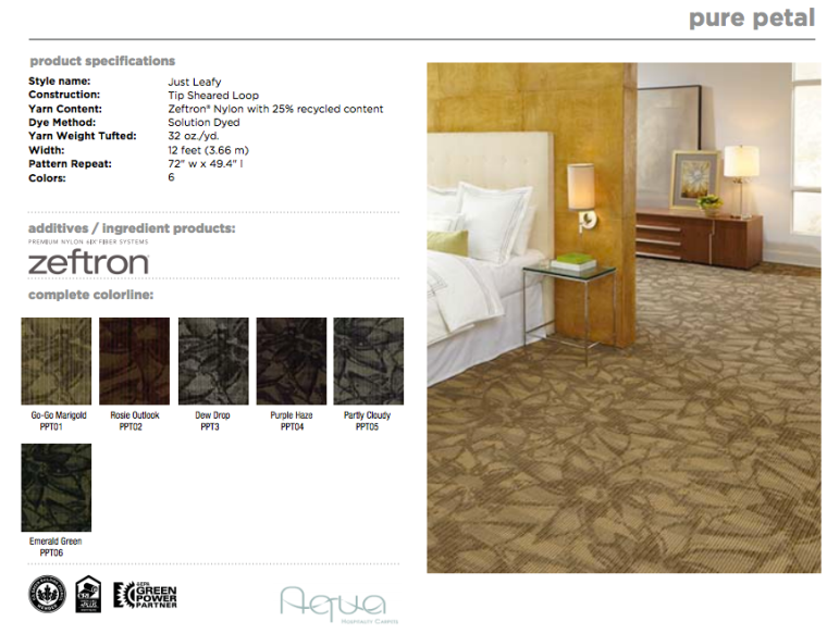 The Bloom Collection:  Pure Petal made by Aqua Hospitality with Zeftron nylon