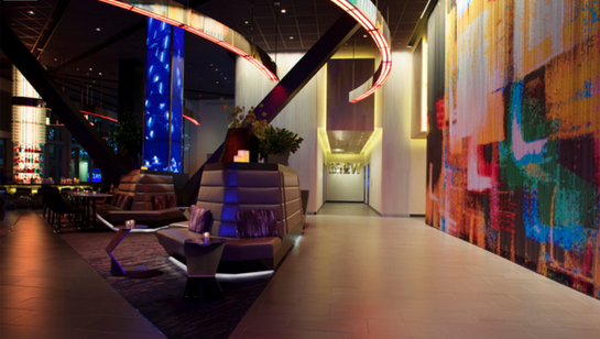 The lobby of the Novatel Hotel in NYC is bright and expressive!